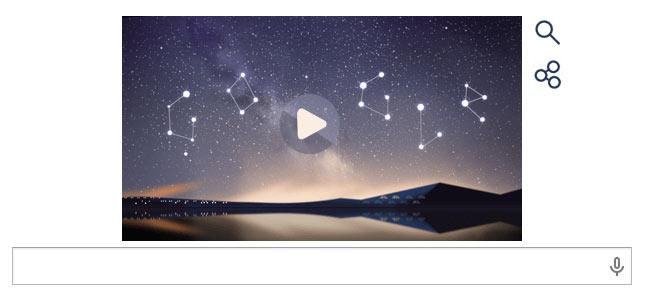Google faz referência à chuva de meteoros com seu Doodle.