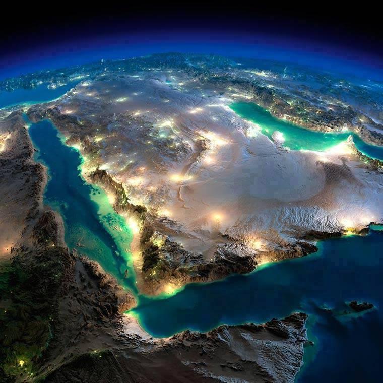 A terra noturna vista pelo espaço