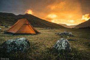 Por do sol no camping Huayhuash